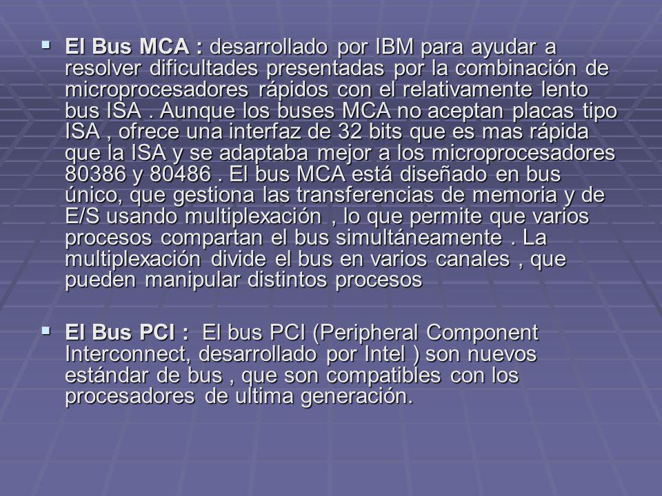 El Bus MCA : desarrollado por IBM para ayudar a resolver dificultades presentadas por la combinación de microprocesadores rápidos con el relativamente
