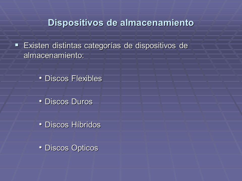 Dispositivos de almacenamiento Existen distintas categorías de dispositivos de almacenamiento: Existen distintas categorías de dispositivos de almacen