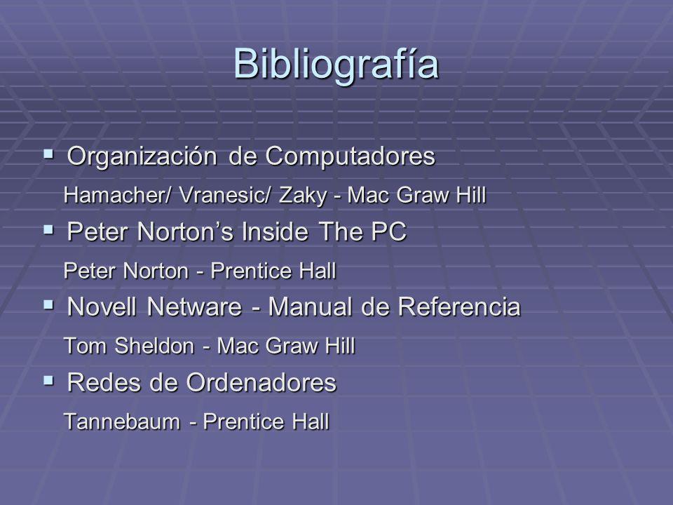 Bibliografía Organización de Computadores Organización de Computadores Hamacher/ Vranesic/ Zaky - Mac Graw Hill Hamacher/ Vranesic/ Zaky - Mac Graw Hi