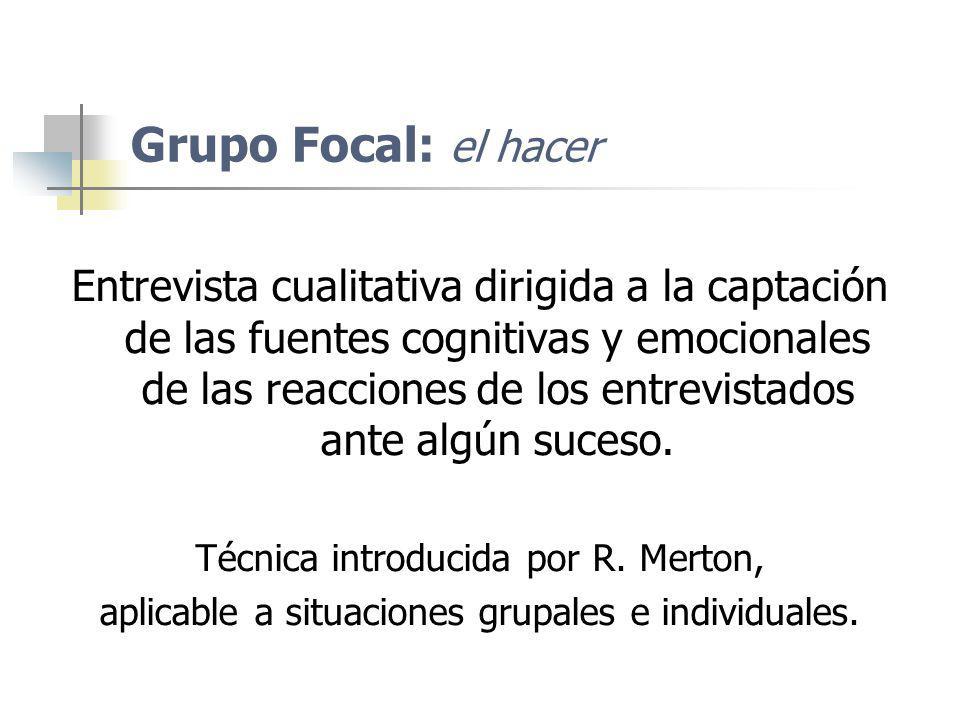 Grupo Focal: el hacer Entrevista cualitativa dirigida a la captación de las fuentes cognitivas y emocionales de las reacciones de los entrevistados an