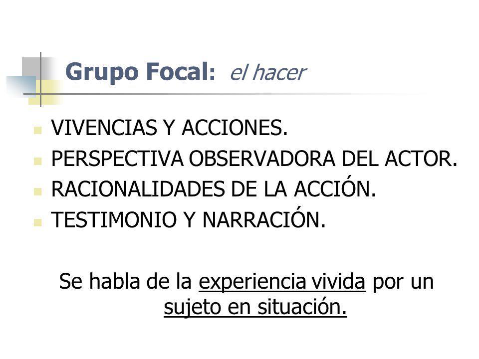Grupo Focal : el hacer VIVENCIAS Y ACCIONES. PERSPECTIVA OBSERVADORA DEL ACTOR. RACIONALIDADES DE LA ACCIÓN. TESTIMONIO Y NARRACIÓN. Se habla de la ex