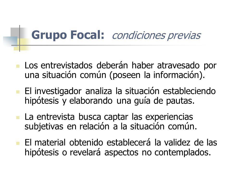 Grupo Focal: condiciones previas Los entrevistados deberán haber atravesado por una situación común (poseen la información). El investigador analiza l