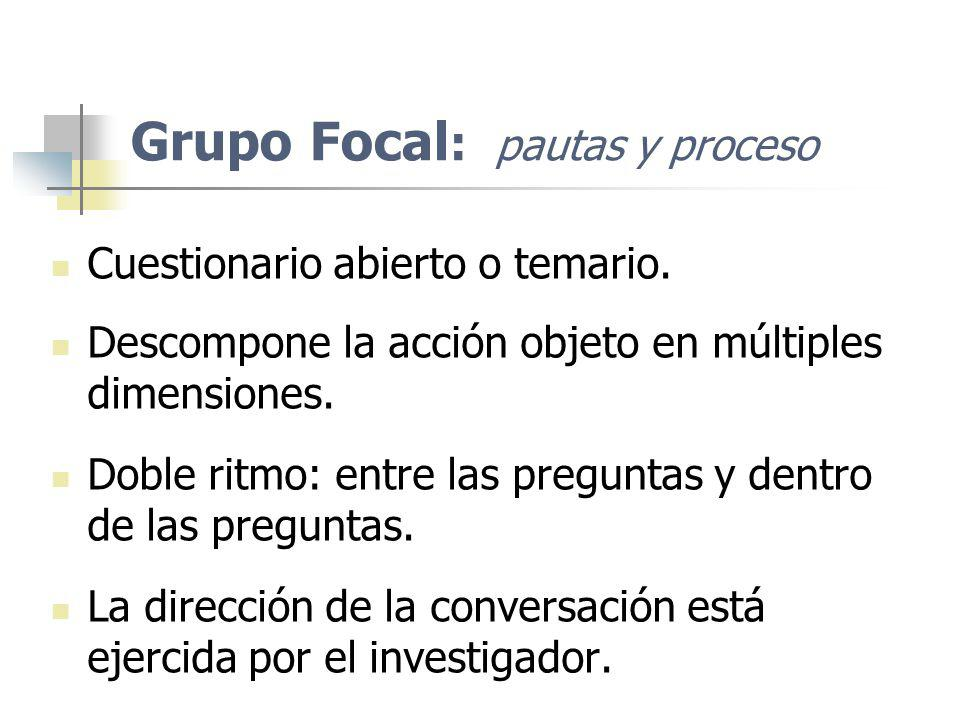 Grupo Focal : pautas y proceso Cuestionario abierto o temario. Descompone la acción objeto en múltiples dimensiones. Doble ritmo: entre las preguntas