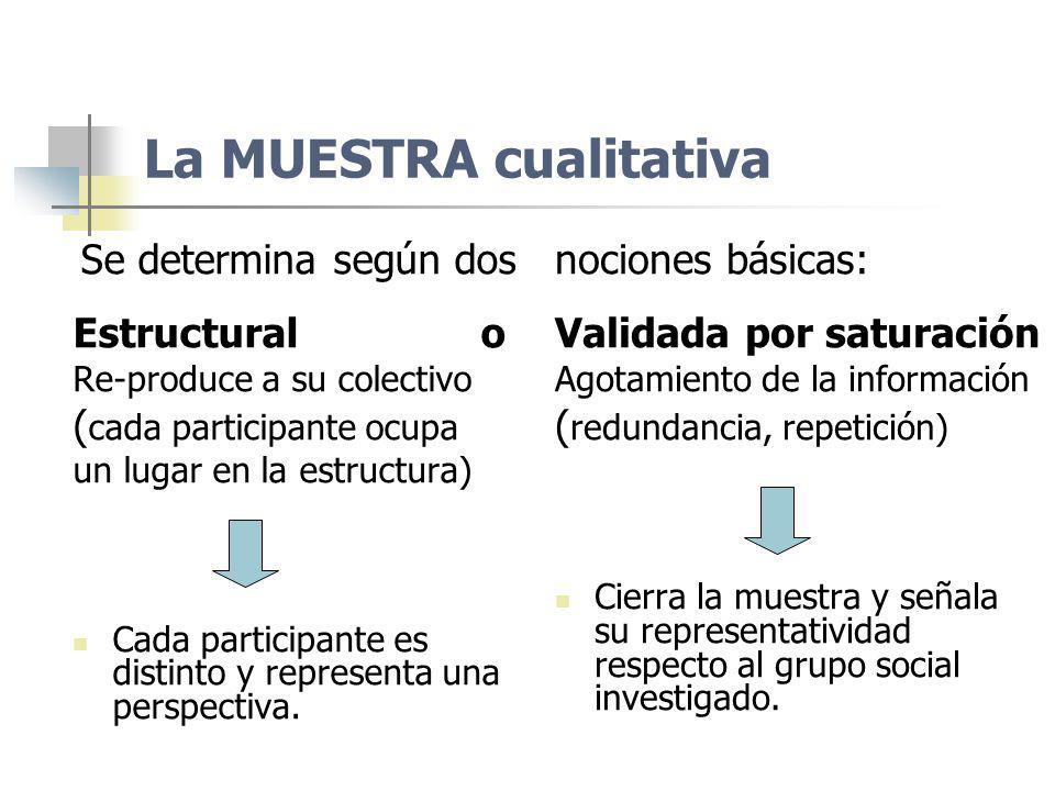 La MUESTRA cualitativa Se determina según dos Estructural o Re-produce a su colectivo ( cada participante ocupa un lugar en la estructura) Cada partic