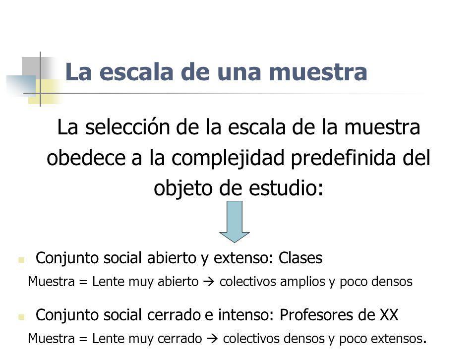 La escala de una muestra La selección de la escala de la muestra obedece a la complejidad predefinida del objeto de estudio: Conjunto social abierto y