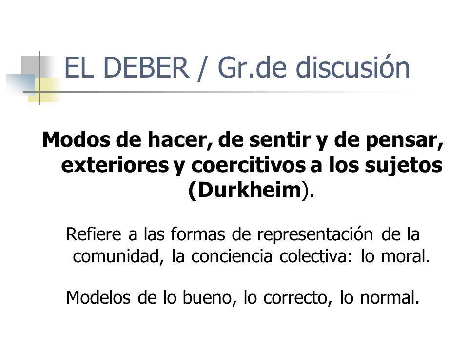 EL DEBER / Gr.de discusión Modos de hacer, de sentir y de pensar, exteriores y coercitivos a los sujetos (Durkheim). Refiere a las formas de represent