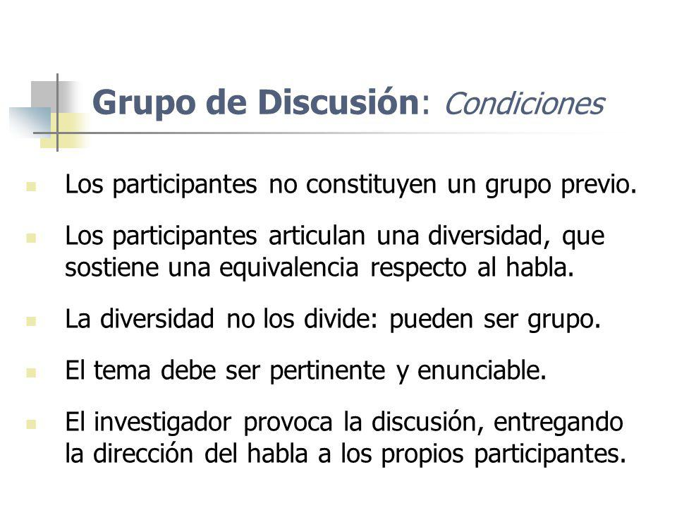 Grupo de Discusión: Condiciones Los participantes no constituyen un grupo previo. Los participantes articulan una diversidad, que sostiene una equival