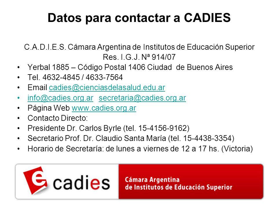 Datos para contactar a CADIES C.A.D.I.E.S.
