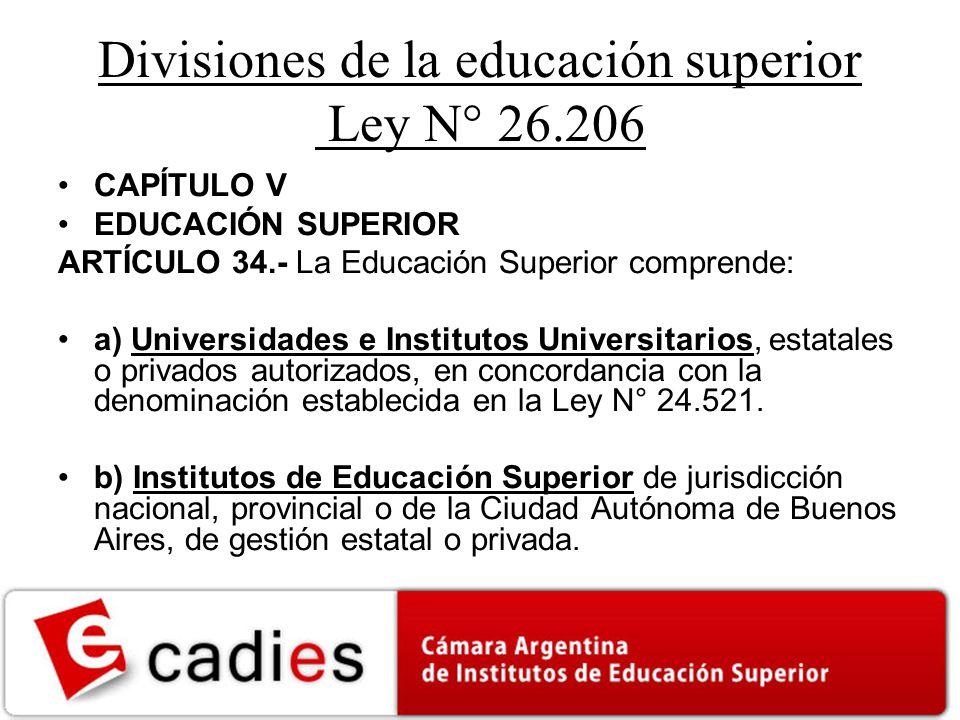 Divisiones de la educación superior Ley N° 26.206 CAPÍTULO V EDUCACIÓN SUPERIOR ARTÍCULO 34.- La Educación Superior comprende: a) Universidades e Institutos Universitarios, estatales o privados autorizados, en concordancia con la denominación establecida en la Ley N° 24.521.