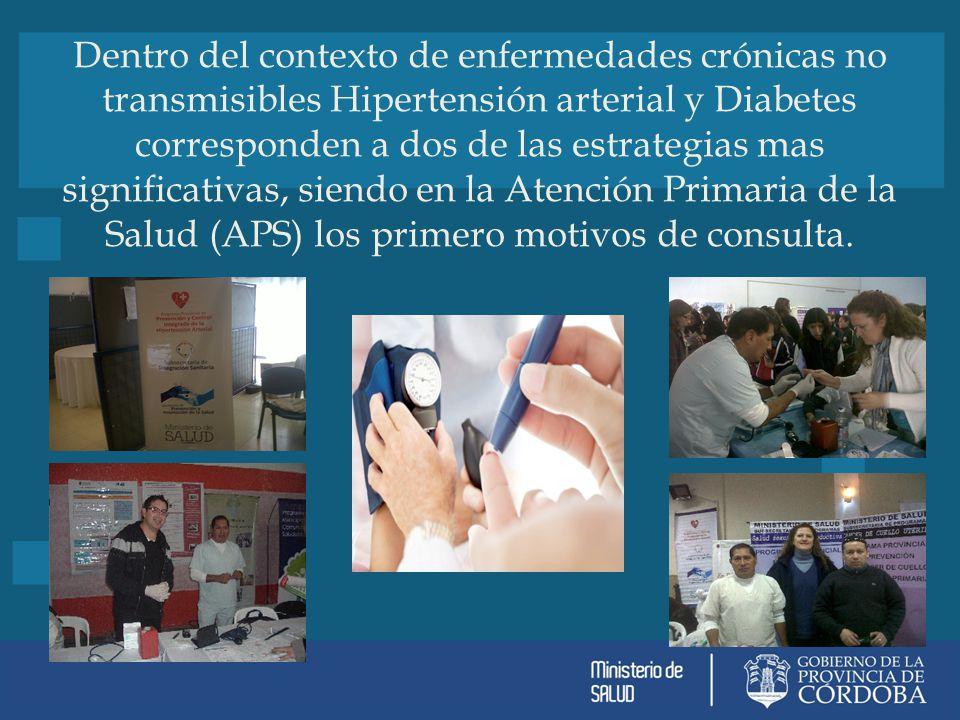 Dentro del contexto de enfermedades crónicas no transmisibles Hipertensión arterial y Diabetes corresponden a dos de las estrategias mas significativas, siendo en la Atención Primaria de la Salud (APS) los primero motivos de consulta.