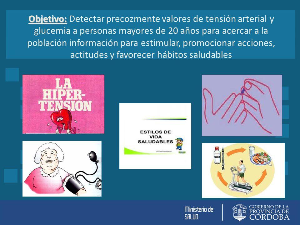 Objetivo: Objetivo: Detectar precozmente valores de tensión arterial y glucemia a personas mayores de 20 años para acercar a la población información para estimular, promocionar acciones, actitudes y favorecer hábitos saludables