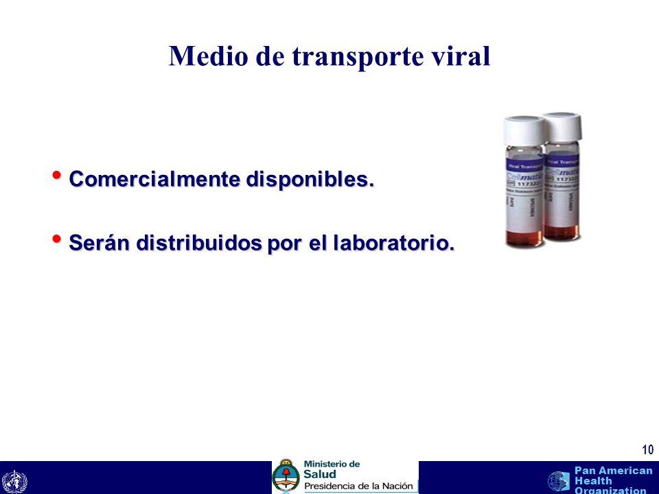 text 10 Pan American Health Organization Medio de transporte viral Comercialmente disponibles. Comercialmente disponibles. Serán distribuidos por el l