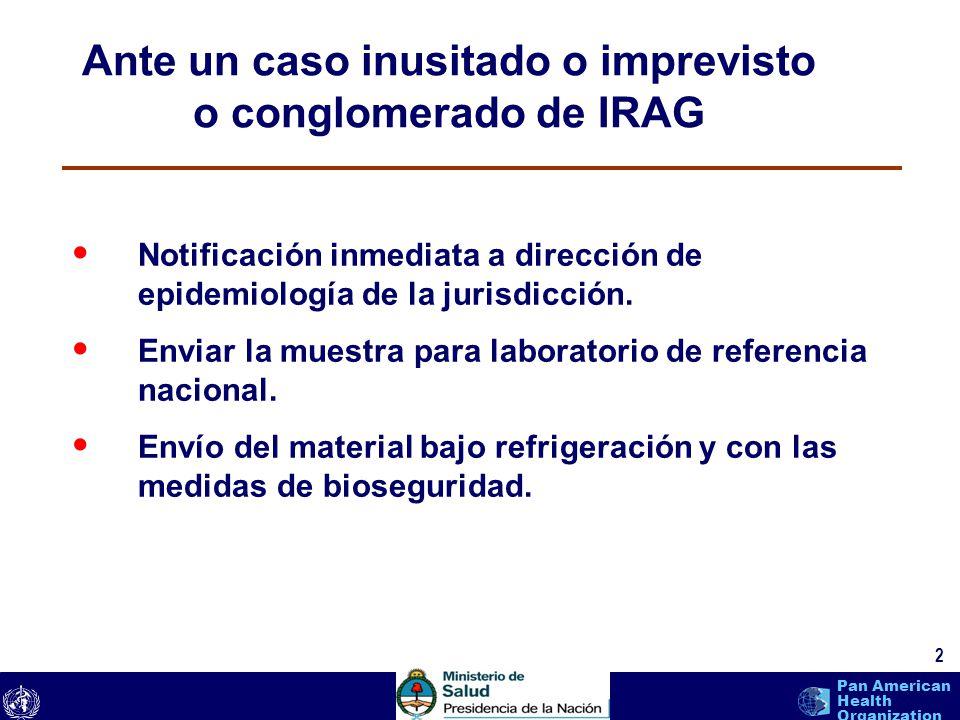 text 3 Pan American Health Organization Calidad de Laboratorio El diagnostico exitoso depende en gran medida de la calidad del espécimen y de las condiciones para el transporte y almacenamiento del mismo antes de ser procesado en el Centro Nacional de Influenza.
