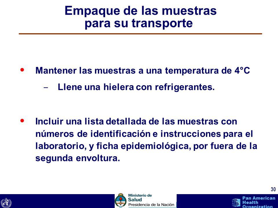text 30 Pan American Health Organization Mantener las muestras a una temperatura de 4°C – Llene una hielera con refrigerantes. Incluir una lista detal