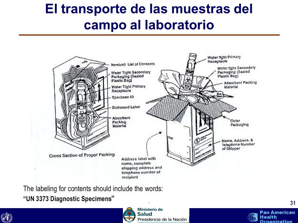 text 31 Pan American Health Organization El transporte de las muestras del campo al laboratorio 31
