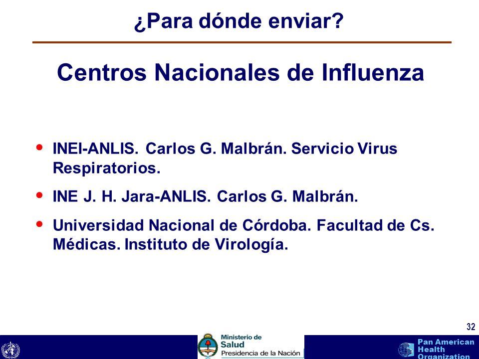 text 32 Pan American Health Organization ¿Para dónde enviar? 32 Centros Nacionales de Influenza INEI-ANLIS. Carlos G. Malbrán. Servicio Virus Respirat