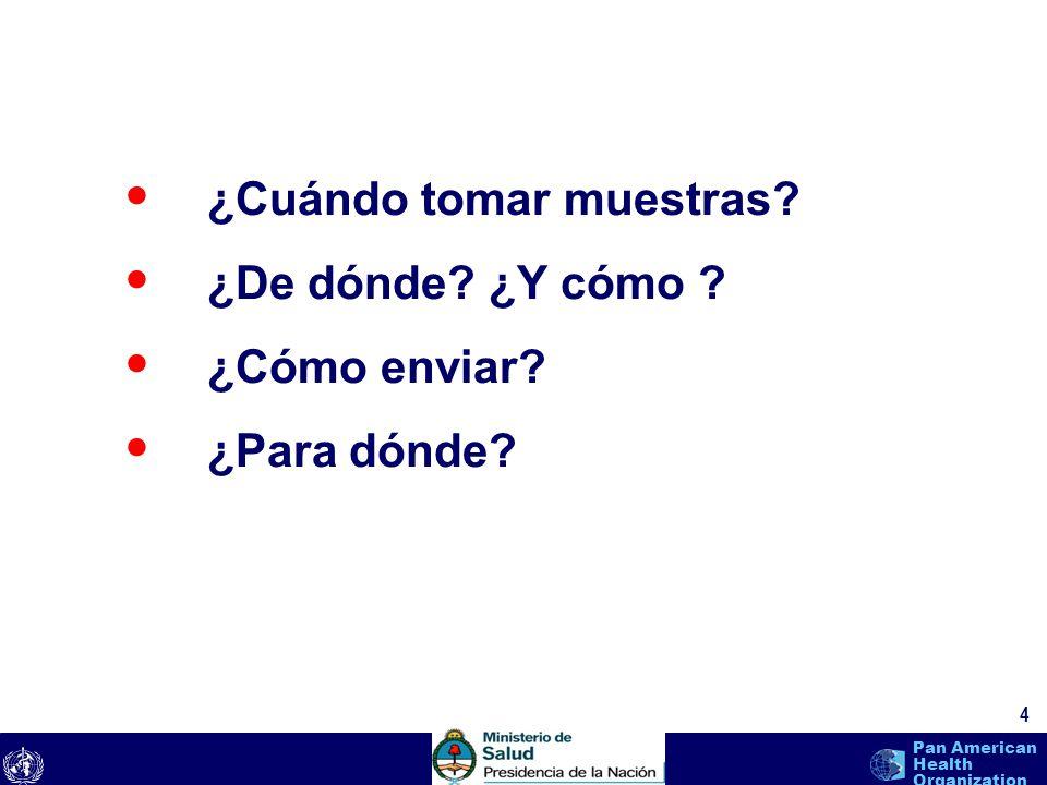text 4 Pan American Health Organization ¿Cuándo tomar muestras? ¿De dónde? ¿Y cómo ? ¿Cómo enviar? ¿Para dónde?