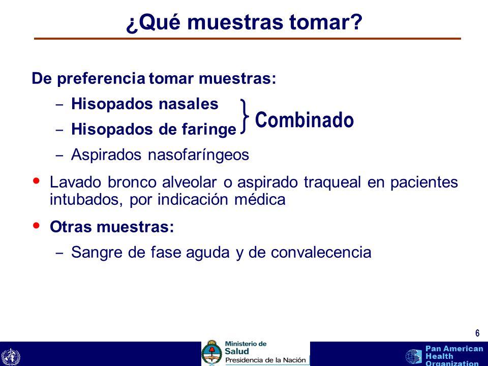 text 6 Pan American Health Organization ¿Qué muestras tomar? De preferencia tomar muestras: – Hisopados nasales – Hisopados de faringe – Aspirados nas
