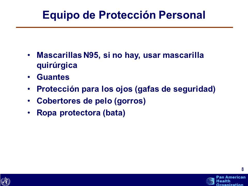 text 8 Pan American Health Organization Equipo de Protección Personal 8 Mascarillas N95, si no hay, usar mascarilla quirúrgica Guantes Protección para