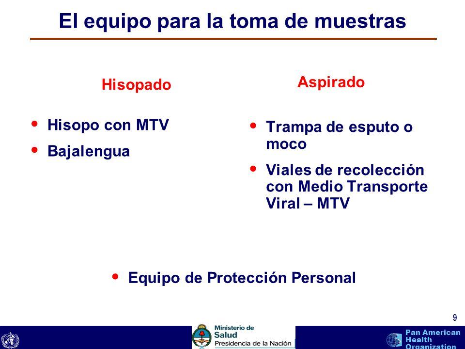 text 9 Pan American Health Organization El equipo para la toma de muestras Hisopo con MTV Bajalengua Trampa de esputo o moco Viales de recolección con