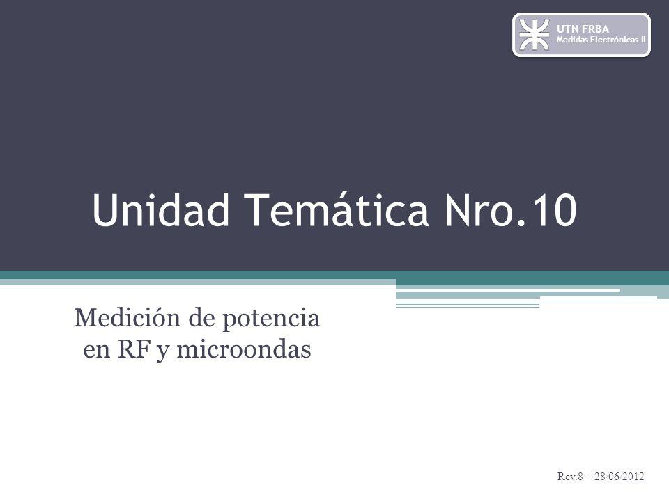 Unidad Temática Nro.10 Rev.8 – 28/06/2012 Medición de potencia en RF y microondas UTN FRBA Medidas Electrónicas II
