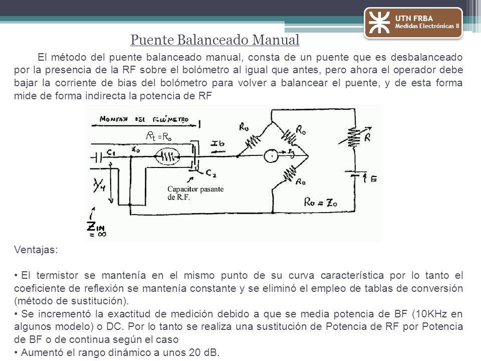 El método del puente balanceado manual, consta de un puente que es desbalanceado por la presencia de la RF sobre el bolómetro al igual que antes, pero ahora el operador debe bajar la corriente de bias del bolómetro para volver a balancear el puente, y de esta forma mide de forma indirecta la potencia de RF Ventajas: El termistor se mantenía en el mismo punto de su curva característica por lo tanto el coeficiente de reflexión se mantenía constante y se eliminó el empleo de tablas de conversión (método de sustitución).