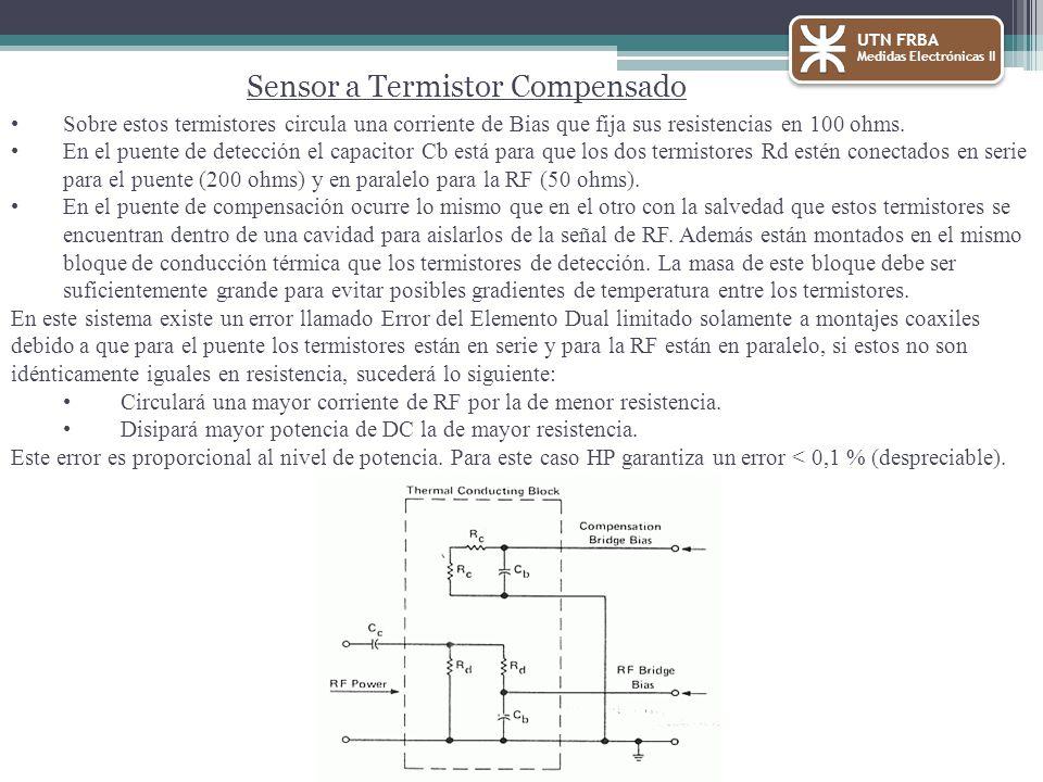 Sobre estos termistores circula una corriente de Bias que fija sus resistencias en 100 ohms. En el puente de detección el capacitor Cb está para que l