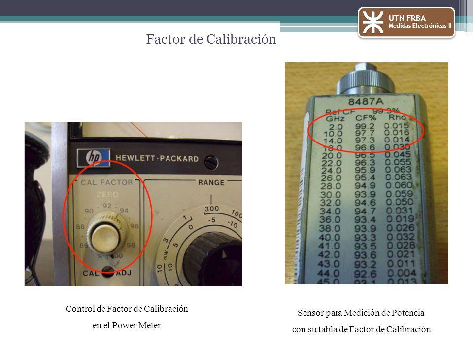 UTN FRBA Medidas Electrónicas II Factor de Calibración Control de Factor de Calibración en el Power Meter Sensor para Medición de Potencia con su tabla de Factor de Calibración