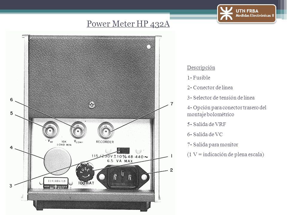 UTN FRBA Medidas Electrónicas II Power Meter HP 432A Descripción 1- Fusible 2- Conector de línea 3- Selector de tensión de línea 4- Opción para conector trasero del montaje bolométrico 5- Salida de VRF 6- Salida de VC 7- Salida para monitor (1 V = indicación de plena escala)