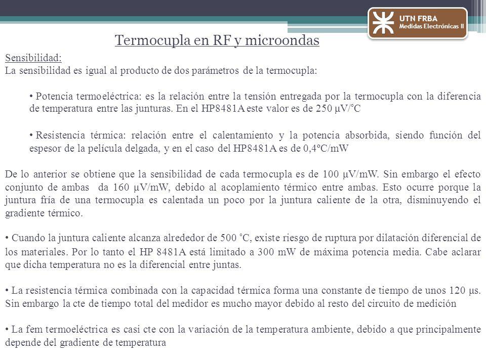 UTN FRBA Medidas Electrónicas II Termocupla en RF y microondas Sensibilidad: La sensibilidad es igual al producto de dos parámetros de la termocupla: