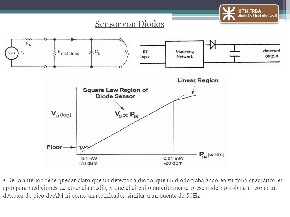 UTN FRBA Medidas Electrónicas II Sensor con Diodos De lo anterior debe quedar claro que un detector a diodo, que un diodo trabajando en su zona cuadrático es apto para mediciones de potencia media, y que el circuito anteriormente presentado no trabaja ni como un detector de pico de AM ni como un rectificador similar a un puente de 50Hz