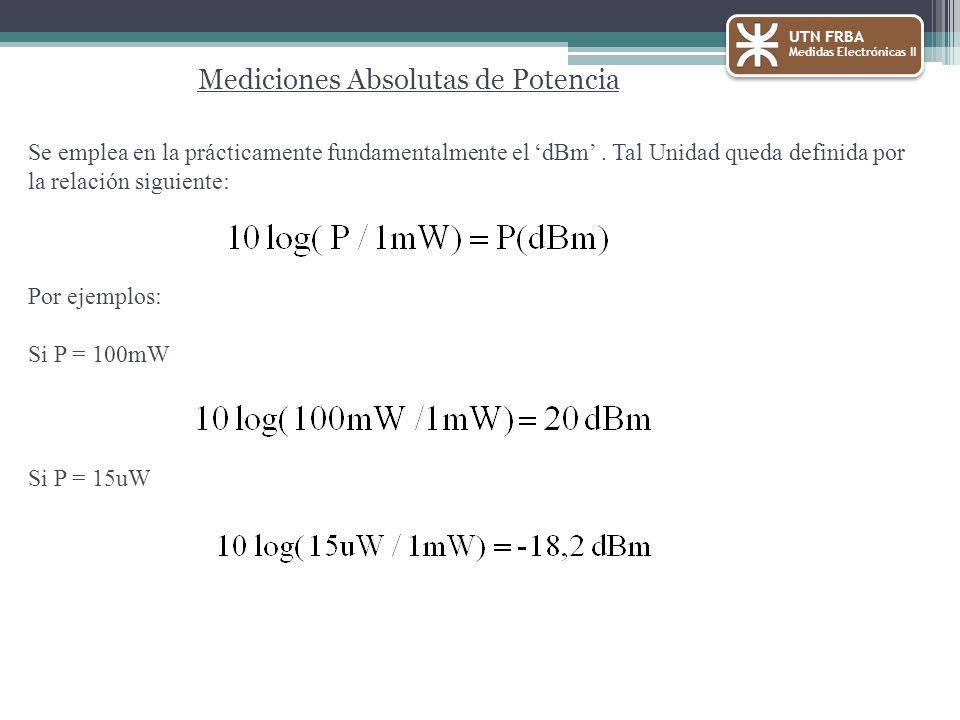 Se emplea en la prácticamente fundamentalmente el dBm. Tal Unidad queda definida por la relación siguiente: Por ejemplos: Si P = 100mW Si P = 15uW UTN