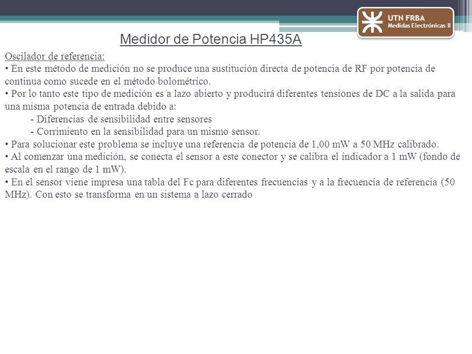UTN FRBA Medidas Electrónicas II Medidor de Potencia HP435A Oscilador de referencia: En este método de medición no se produce una sustitución directa