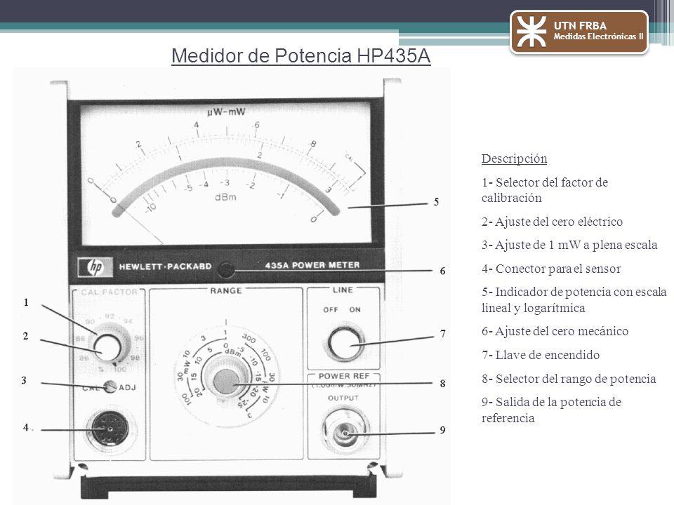 UTN FRBA Medidas Electrónicas II Medidor de Potencia HP435A Descripción 1- Selector del factor de calibración 2- Ajuste del cero eléctrico 3- Ajuste de 1 mW a plena escala 4- Conector para el sensor 5- Indicador de potencia con escala lineal y logarítmica 6- Ajuste del cero mecánico 7- Llave de encendido 8- Selector del rango de potencia 9- Salida de la potencia de referencia