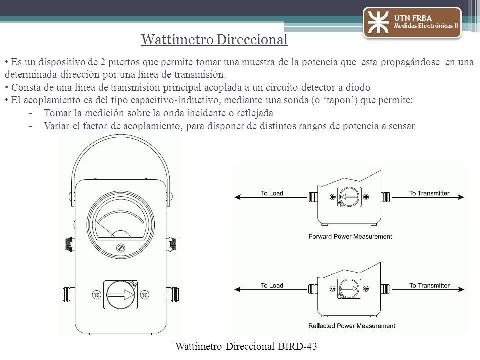 Wattimetro Direccional Es un dispositivo de 2 puertos que permite tomar una muestra de la potencia que esta propagándose en una determinada dirección por una línea de transmisión.