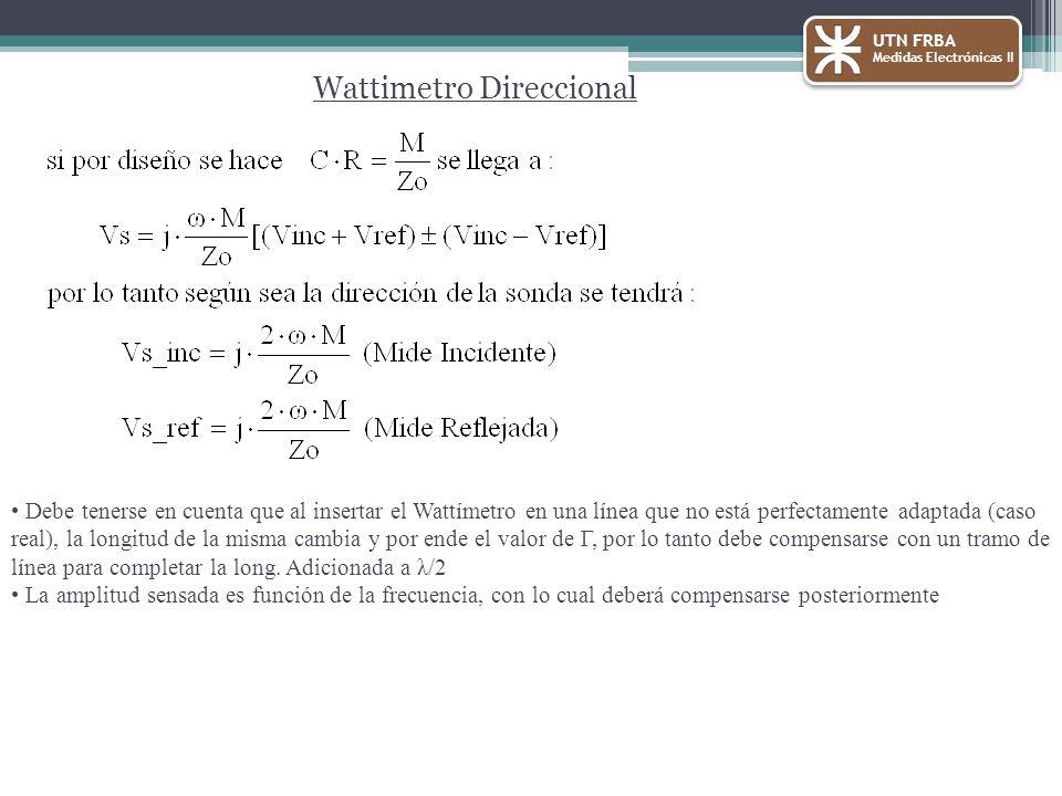 Wattimetro Direccional Debe tenerse en cuenta que al insertar el Wattímetro en una línea que no está perfectamente adaptada (caso real), la longitud de la misma cambia y por ende el valor de Г, por lo tanto debe compensarse con un tramo de línea para completar la long.
