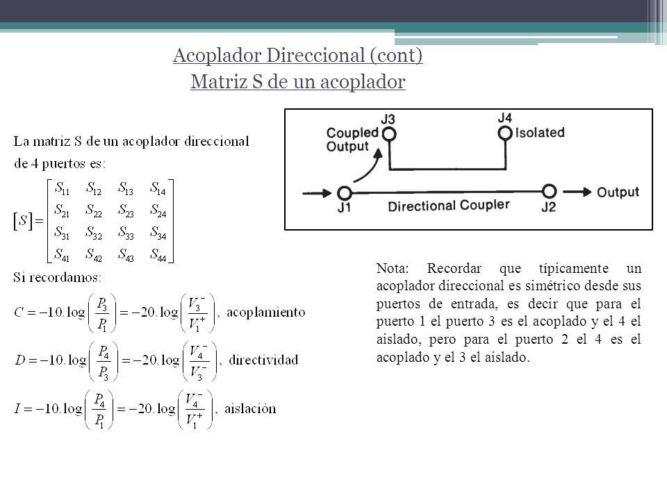Acoplador Direccional (cont) Matriz S de un acoplador Nota: Recordar que típicamente un acoplador direccional es simétrico desde sus puertos de entrad