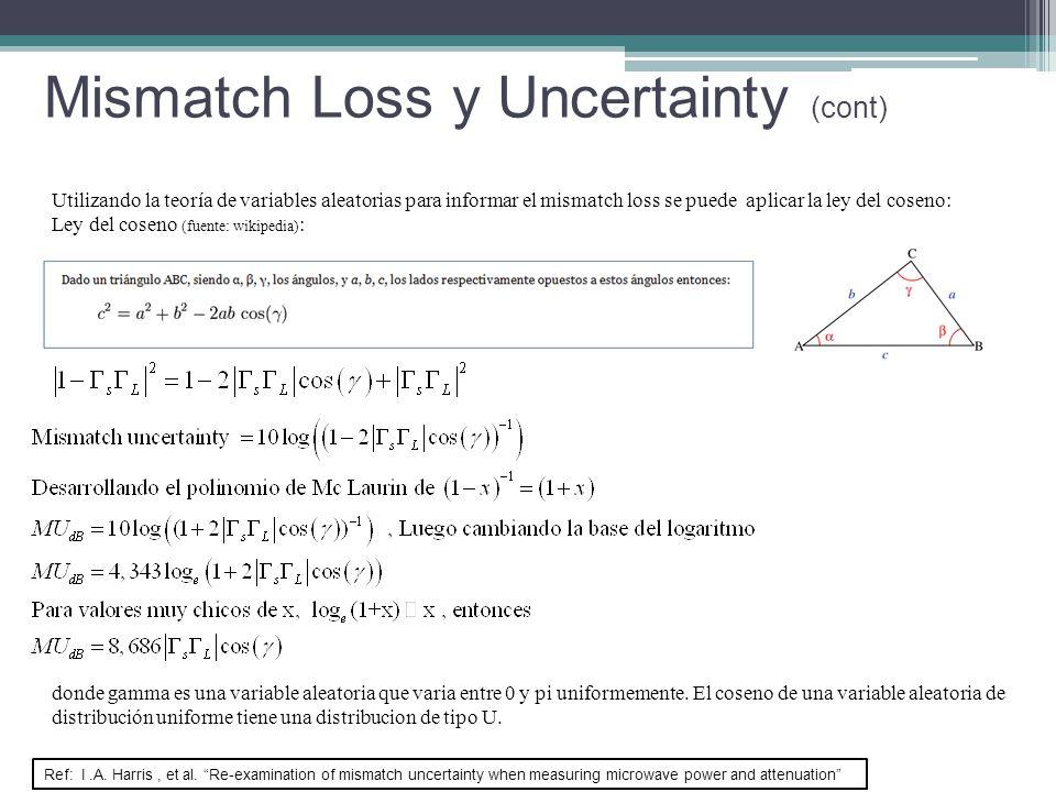Utilizando la teoría de variables aleatorias para informar el mismatch loss se puede aplicar la ley del coseno: Ley del coseno (fuente: wikipedia) : d