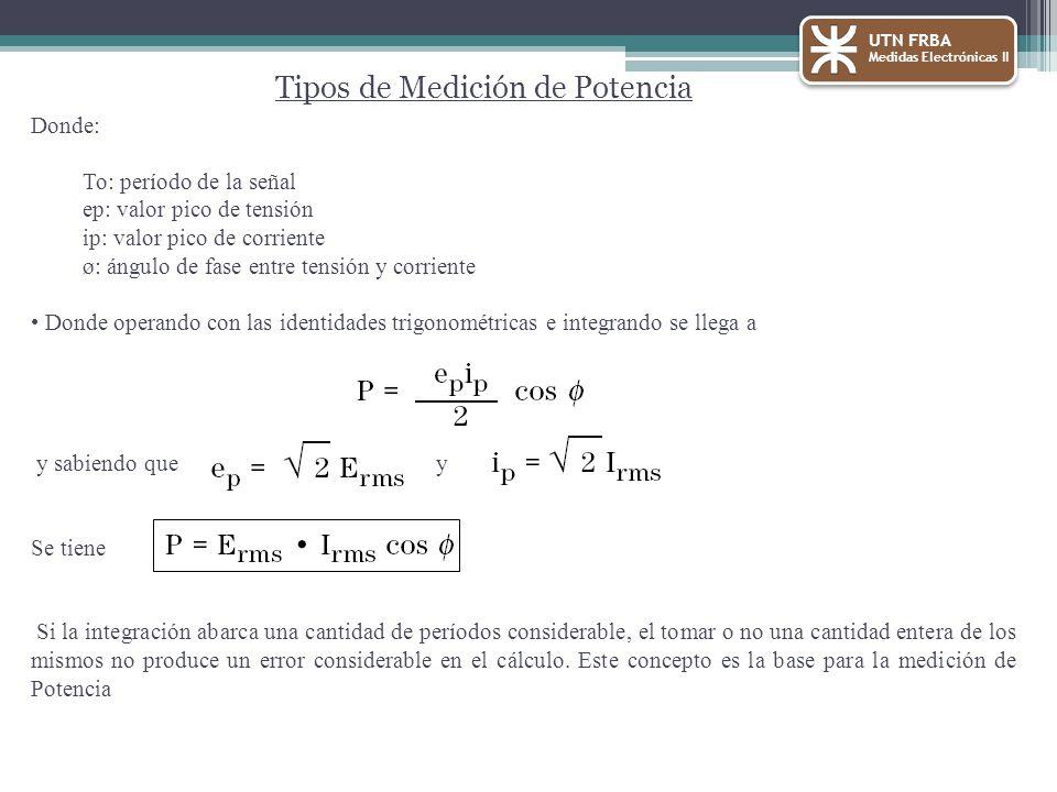 Donde: To: período de la señal ep: valor pico de tensión ip: valor pico de corriente ø: ángulo de fase entre tensión y corriente Donde operando con la