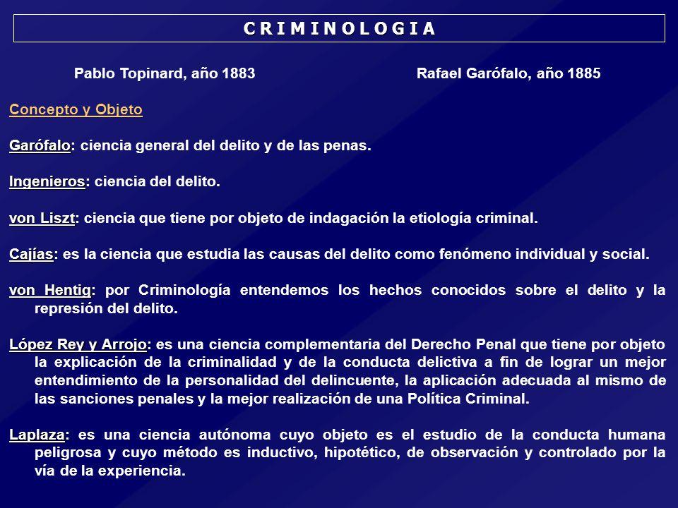 Pablo Topinard, año 1883 Rafael Garófalo, año 1885 Concepto y Objeto Garófalo Garófalo: ciencia general del delito y de las penas.
