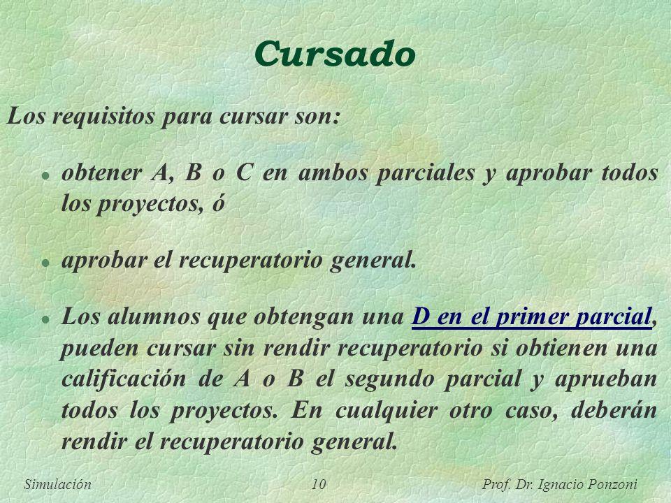 Simulación 10 Prof. Dr. Ignacio Ponzoni Cursado Los requisitos para cursar son: l obtener A, B o C en ambos parciales y aprobar todos los proyectos, ó