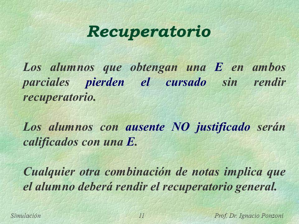 Simulación 11 Prof. Dr. Ignacio Ponzoni Recuperatorio Los alumnos que obtengan una E en ambos parciales pierden el cursado sin rendir recuperatorio. L