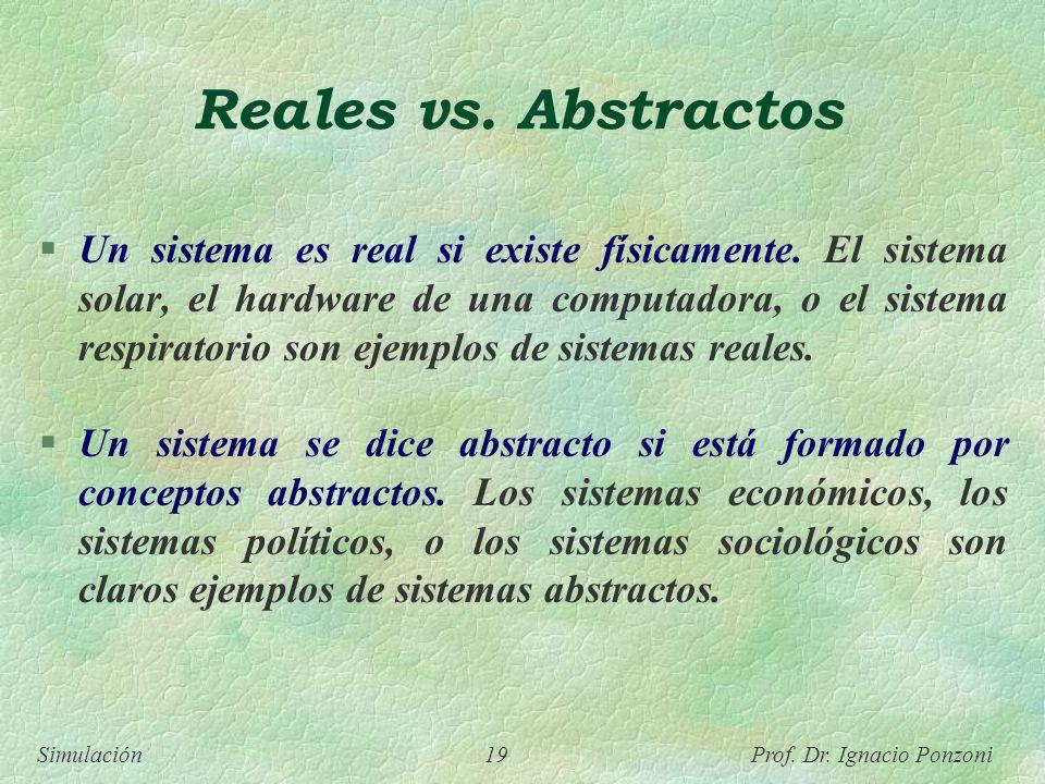 Simulación 19 Prof. Dr. Ignacio Ponzoni Reales vs. Abstractos Un sistema es real si existe físicamente. El sistema solar, el hardware de una computado
