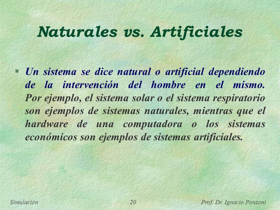 Simulación 20 Prof. Dr. Ignacio Ponzoni Naturales vs. Artificiales Un sistema se dice natural o artificial dependiendo de la intervención del hombre e