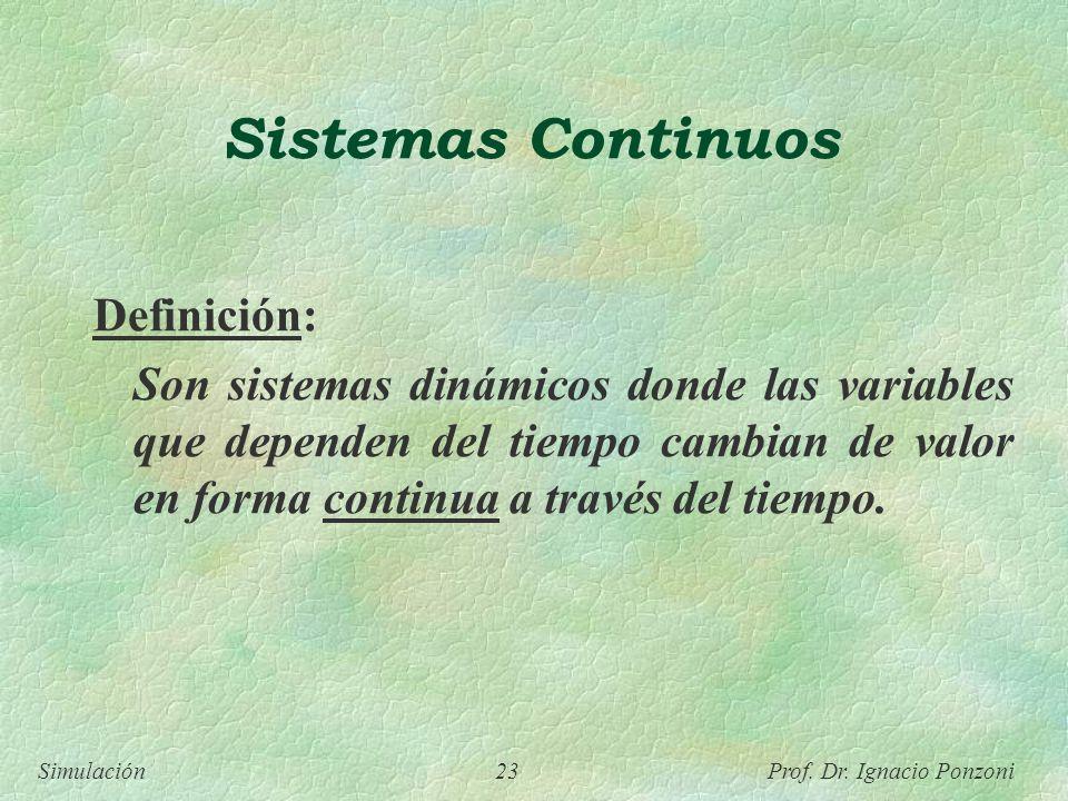 Simulación 23 Prof. Dr. Ignacio Ponzoni Sistemas Continuos Definición: Son sistemas dinámicos donde las variables que dependen del tiempo cambian de v