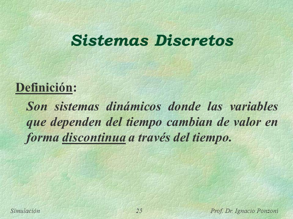 Simulación 25 Prof. Dr. Ignacio Ponzoni Sistemas Discretos Definición: Son sistemas dinámicos donde las variables que dependen del tiempo cambian de v