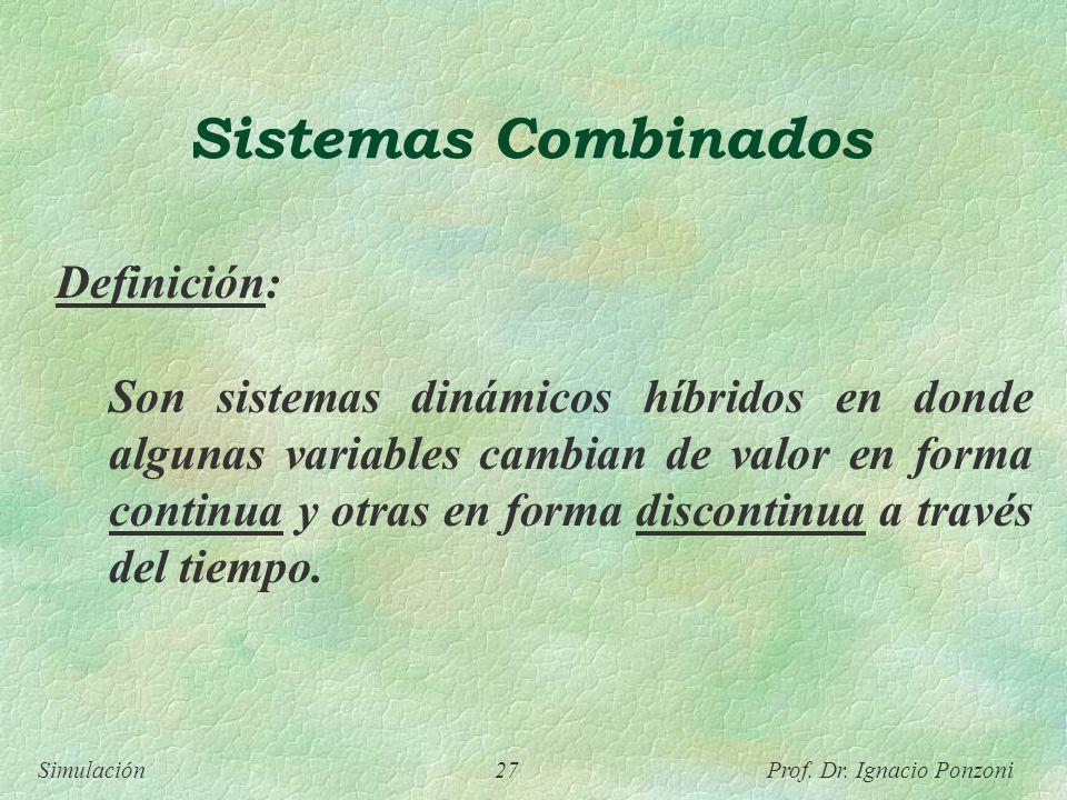 Simulación 27 Prof. Dr. Ignacio Ponzoni Sistemas Combinados Definición: Son sistemas dinámicos híbridos en donde algunas variables cambian de valor en