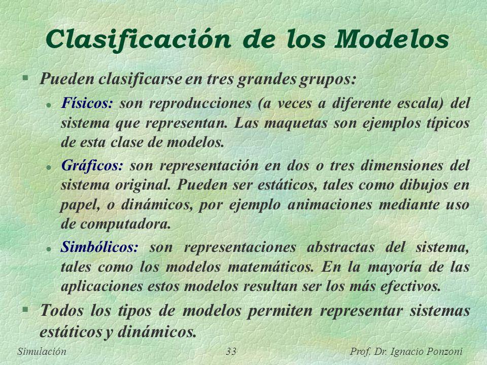 Simulación 33 Prof. Dr. Ignacio Ponzoni Clasificación de los Modelos Pueden clasificarse en tres grandes grupos: l Físicos: son reproducciones (a vece