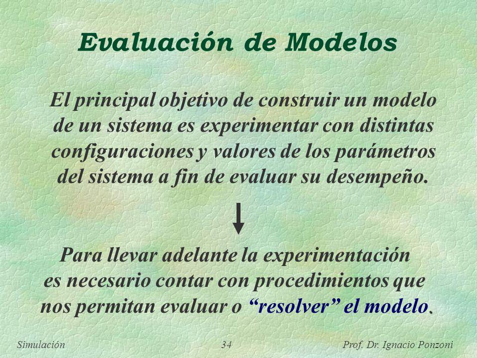 Simulación 34 Prof. Dr. Ignacio Ponzoni Evaluación de Modelos El principal objetivo de construir un modelo de un sistema es experimentar con distintas