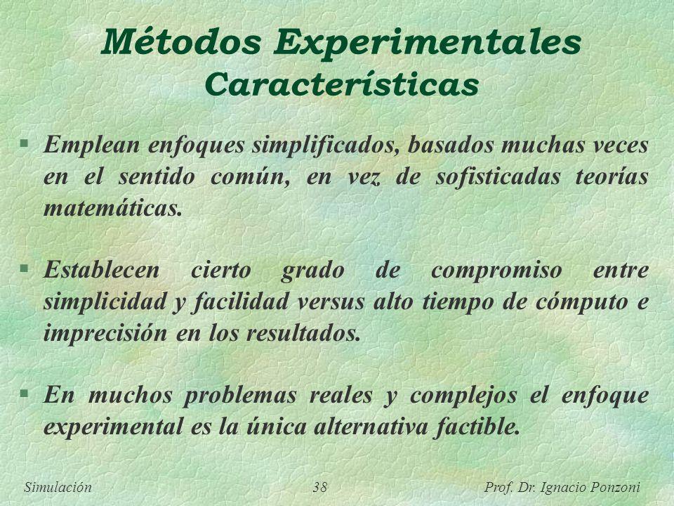 Simulación 38 Prof. Dr. Ignacio Ponzoni Métodos Experimentales Características Emplean enfoques simplificados, basados muchas veces en el sentido comú